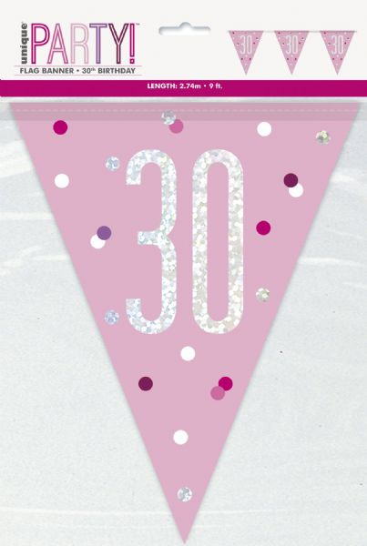 Glitz Pink Age 30 Pennant Banner